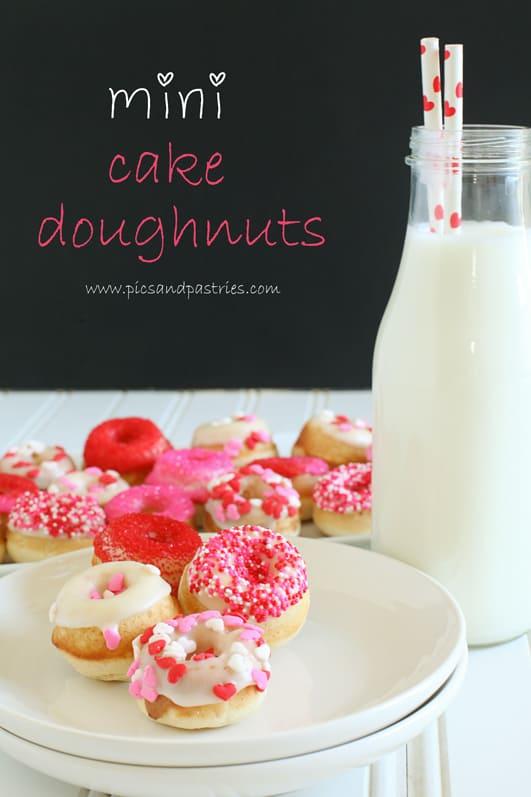 Valentine's Day Mini Cake Doughnuts