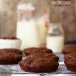 double chocolate muffins baked in a muffin top pan