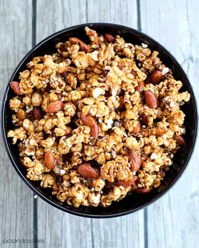 spiced caramel corn and nut mix