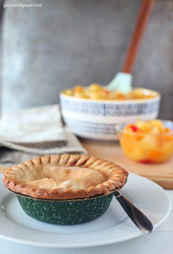 Marie Callender's pot pies and homemade fruit salad