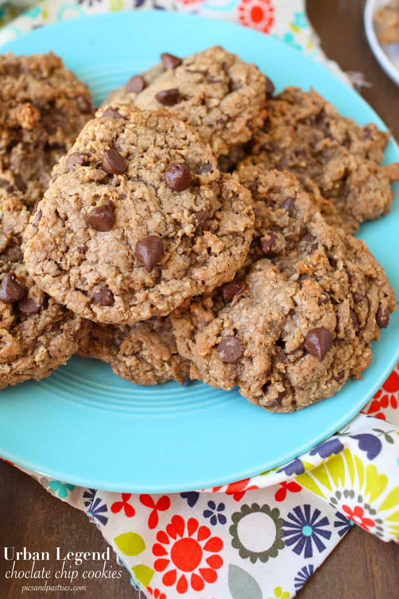 chocolate chip cookies with melted Hershey's bar chocolate